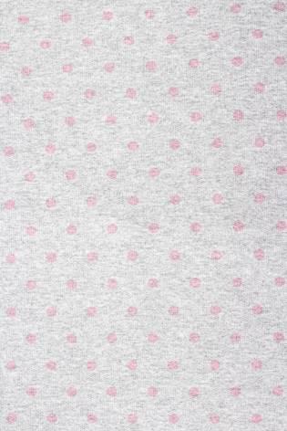 Dzianina dresowa pętelka szary melanż w różowe kropki - 180cm 150g/m2 H thumbnail