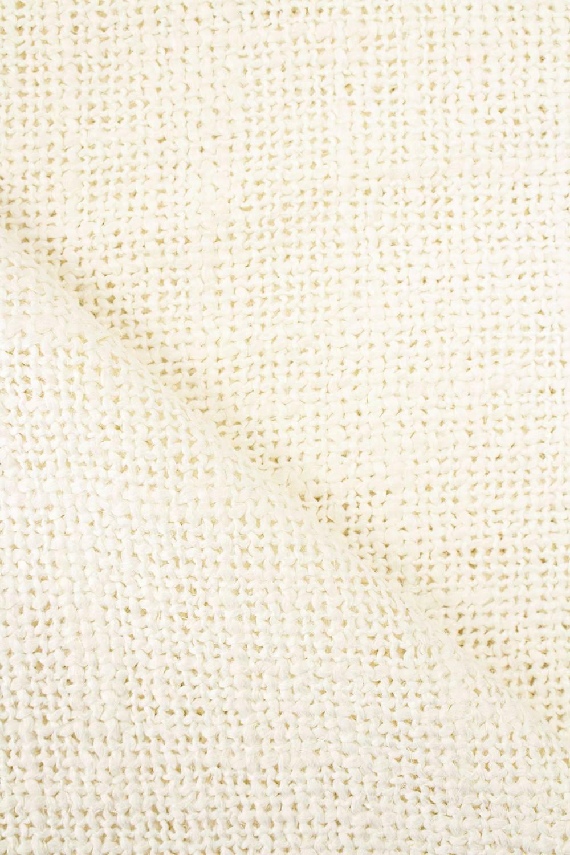 Tkanina lniana z grubym splotem - śmietanka -  145cm 325g/m2