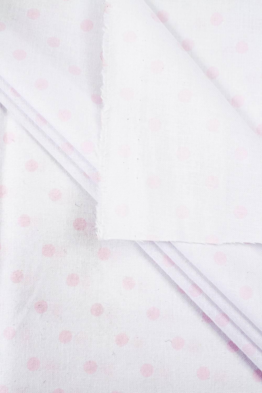 Tkanina pościelowa - biała w różowe grochy -  165cm 115g/m2
