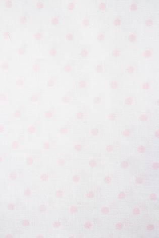 Tkanina pościelowa - biała w różowe grochy -  165cm 115g/m2 thumbnail