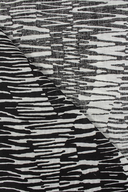 Tkanina lniana - biało-czarne maziaje -  145cm 325g/m2