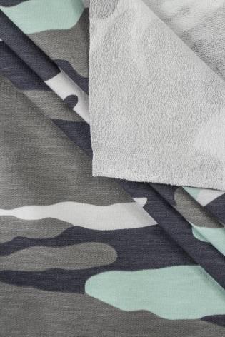 Dzianina dresowa pętelka - moro z turkusem - 135cm 250 g/m2 thumbnail