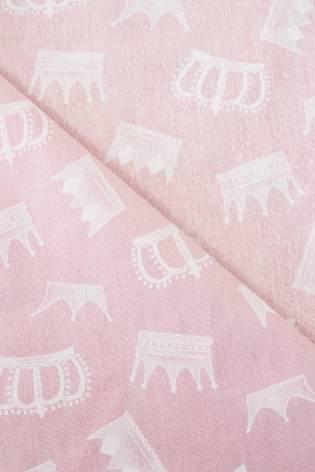 Tkanina bawełniana noris - różowy z nadrukiem korony -  165cm 145g/m2 thumbnail