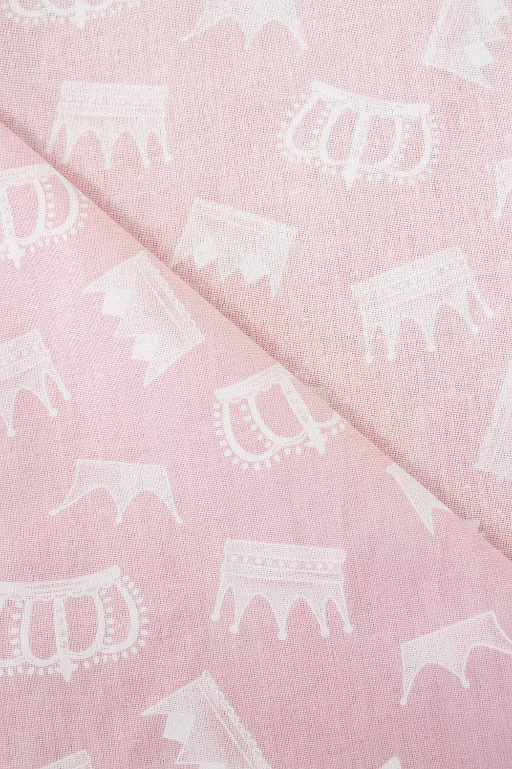 Fabric - Norris - Pink With Crowns - 165 cm - 145 g/m2