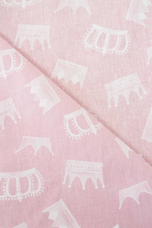 Tkanina bawełniana noris - różowy z nadrukiem korony -  165cm 145g/m2
