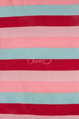 Dzianina dresowa w paski - czerwono-różowo-turkusowy - 160cm 240g/m2 thumbnail
