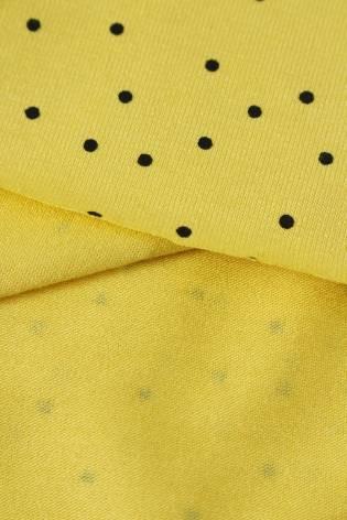 Jersey wiskozowy żółty czarne kropki KUPON 2 MB thumbnail