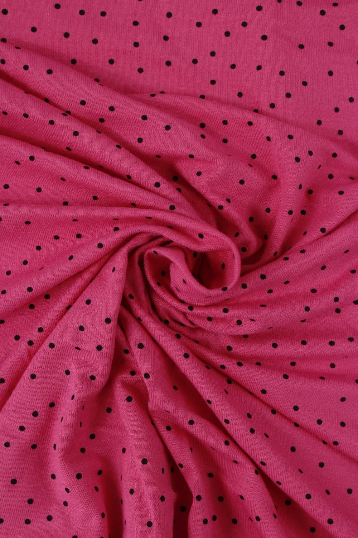 Jersey wiskozowy różowy czarne kropki KUPON 2 MB