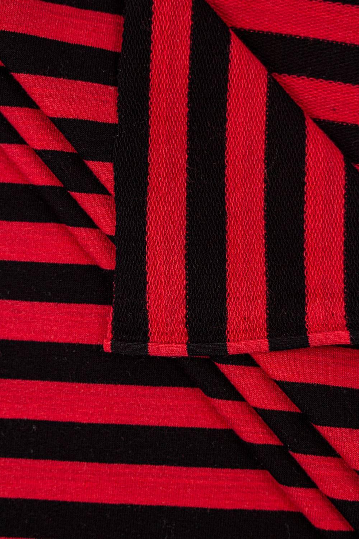 Dresówka pętelka czarno-czerwona paski - 185cm 240g/m2