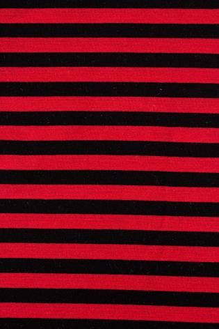 Dresówka pętelka czarno-czerwona paski - 185cm 240g/m2 thumbnail