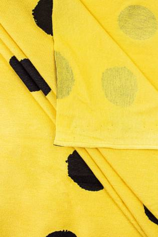 Knit - Viscose Jersey - Yellow With Big Black Ink Spots - 155 cm - 160 g/m2 thumbnail