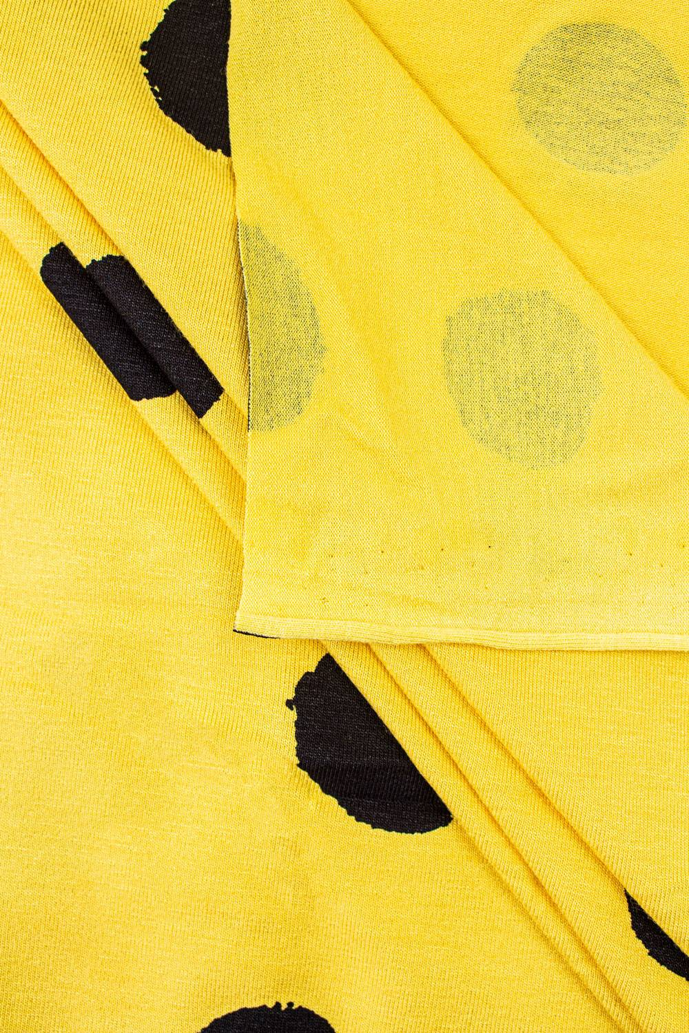 Knit - Viscose Jersey - Yellow With Big Black Ink Spots - 155 cm - 160 g/m2