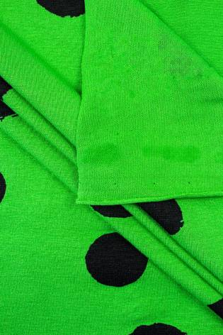 Knit - Viscose Jersey - Green With Big Black Ink Spots - 160 cm - 200 g/m2 thumbnail