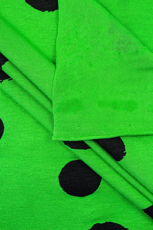 Dzianina jersey wiskozowy - zielony w duże grochy  - 160cm 200g/m2