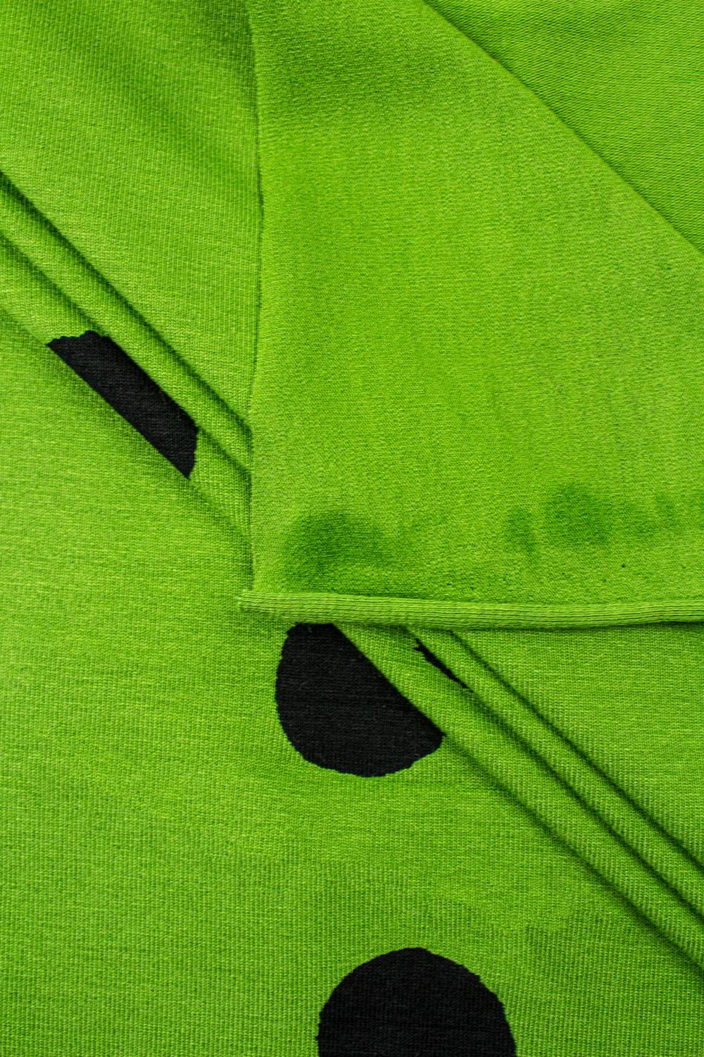 Knit - Viscose Jersey - Pea Green With Big Black Ink Spots - 160 cm - 200 g/m2