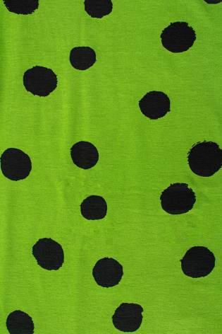 Knit - Viscose Jersey - Apple Green With Big Black Ink Spots - 155 cm - 160 g/m2 thumbnail