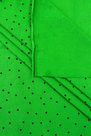 Knit - Viscose Jersey - Green With Black Polka Dots - 160 cm - 200 g/m2 thumbnail