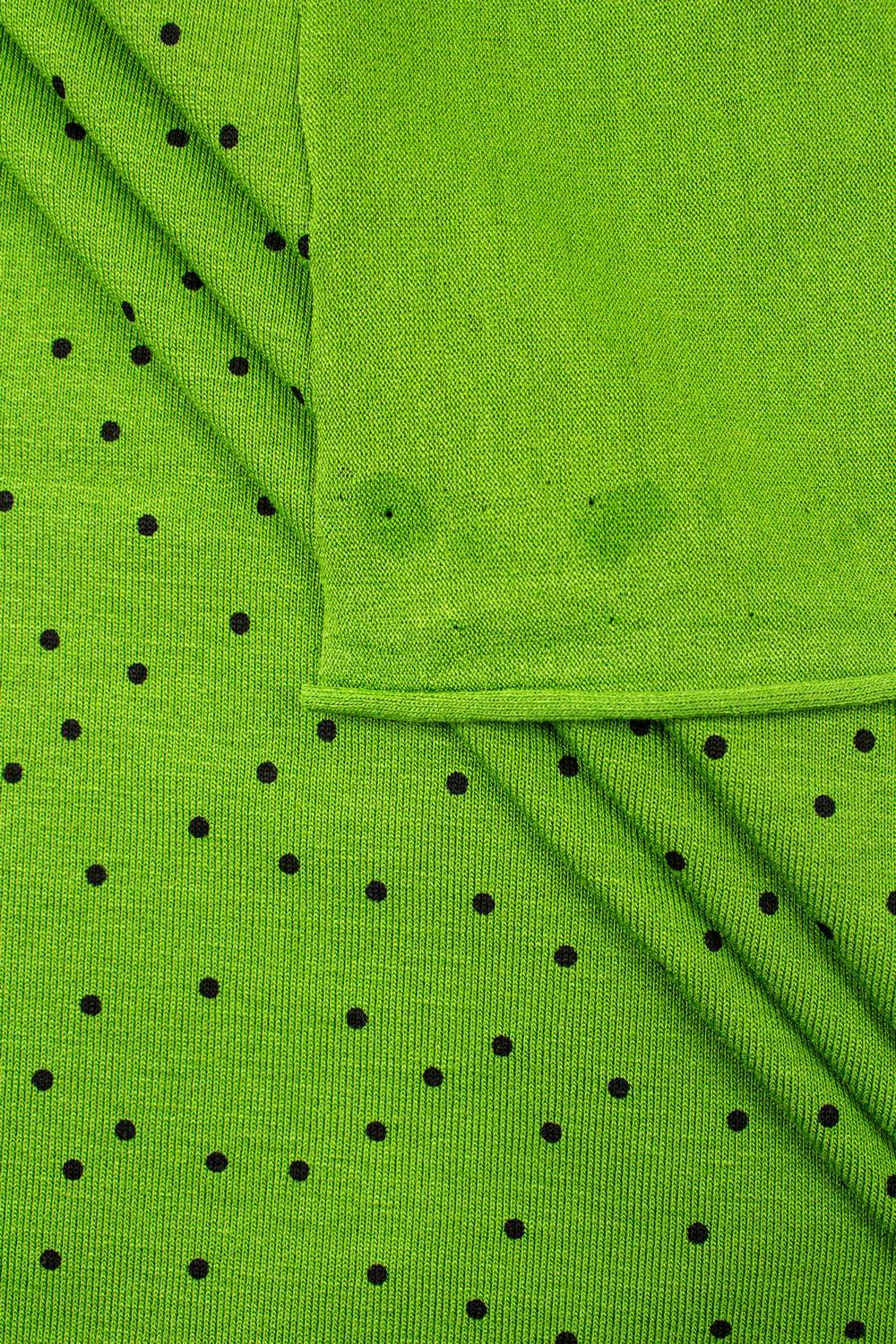 Knit - Viscose Jersey - Apple Green With Black Polka Dots - 160 cm - 200 g/m2
