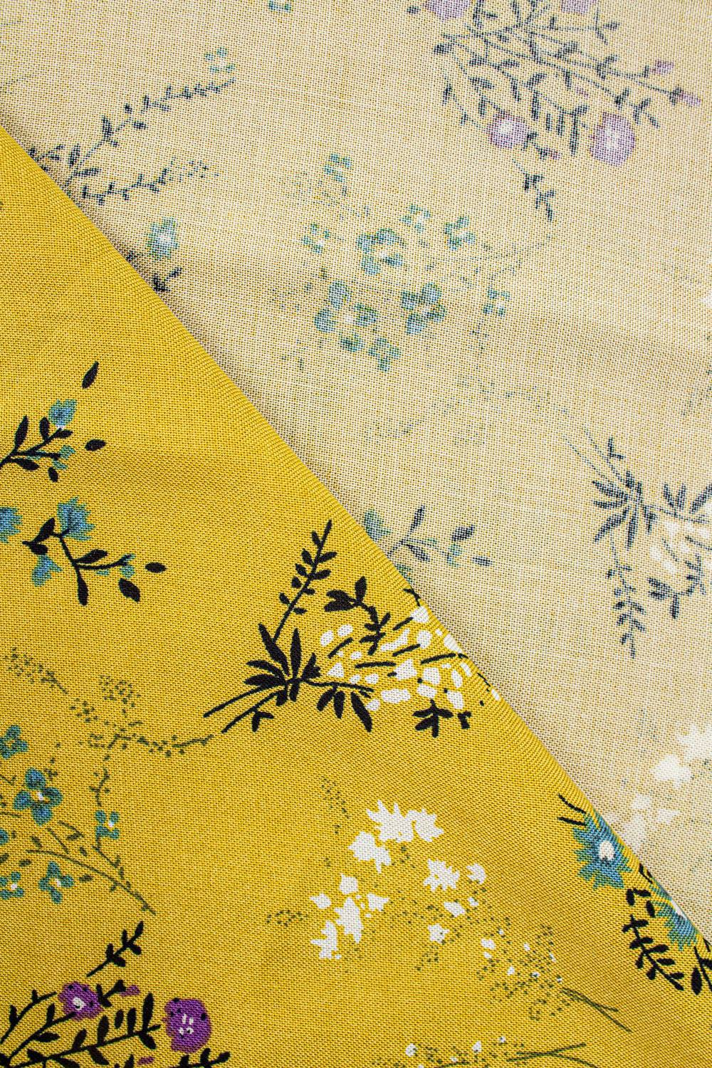 Fabric - Viscose - Yellow With Flowes - 140 cm - 130 g/m2