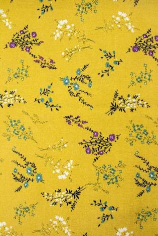 Fabric - Viscose - Yellow With Flowes - 140 cm - 130 g/m2 thumbnail