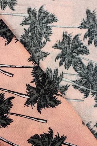 Tkanina wiskozowa - łososiowy w palmy -  140cm 130g/m2 thumbnail