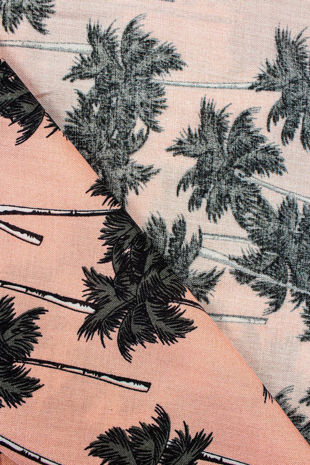 Fabric - Viscose - Salmon Pink With Palm Trees - 140 cm - 130 g/m2