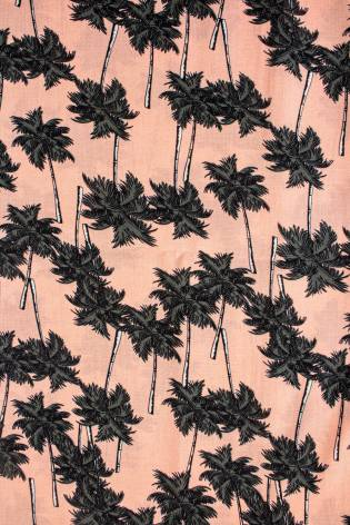 Fabric - Viscose - Salmon Pink With Palm Trees - 140 cm - 130 g/m2 thumbnail