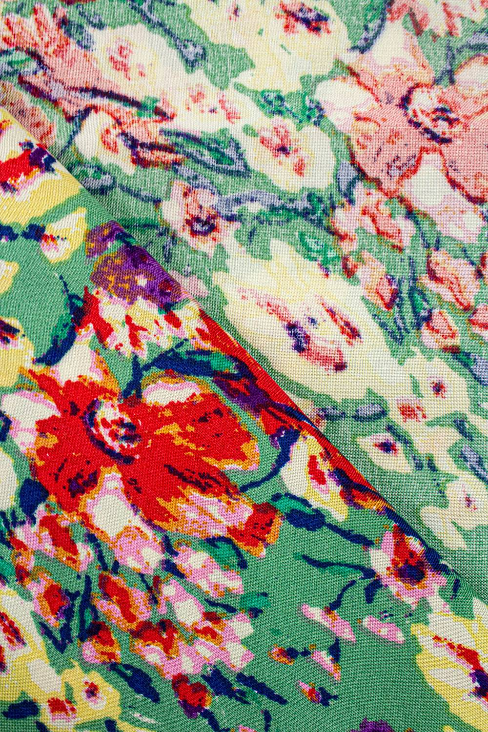 Fabric - Viscose - Green With Red & Yellow Flowers - 140 cm - 130 g/m2