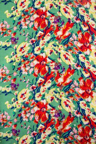 Fabric - Viscose - Green With Red & Yellow Flowers - 140 cm - 130 g/m2 thumbnail