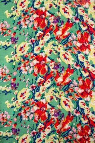 Tkanina wiskozowa - zielony w czerwone kwiaty -  140cm 130g/m2 thumbnail