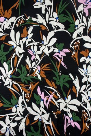 Tkanina wiskozowa - czarny w białe lilie -  140cm 130g/m2 thumbnail