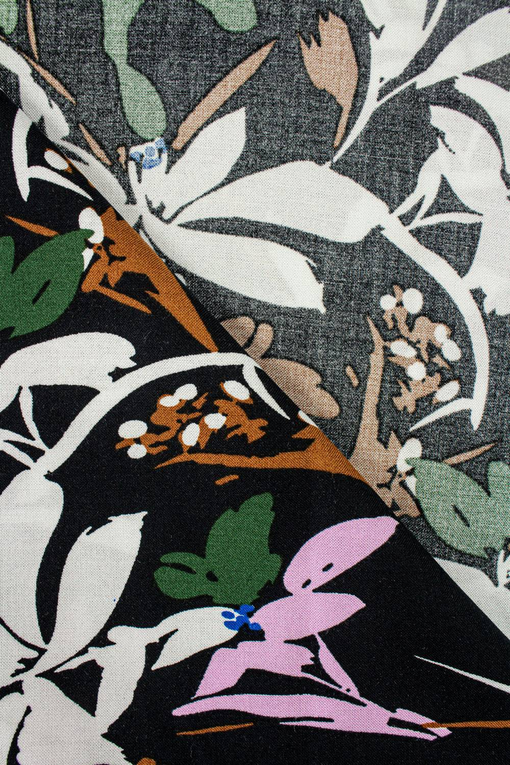 Fabric - Viscose - Black With Leaves - 140 cm - 130 g/m2