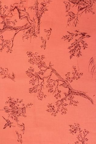 Tkanina wiskozowa - łososiowy w drzewa -  140cm 130g/m2 thumbnail