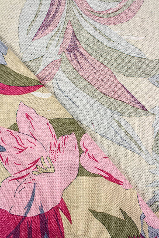 Tkanina wiskozowa - kwiaty na beżowym tle -  140cm 130g/m2