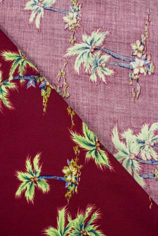 Tkanina wiskozowa - palmy na bordowym tle -  140cm 130g/m2 thumbnail