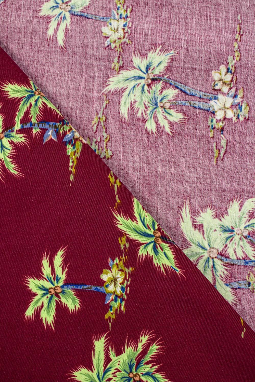 Tkanina wiskozowa - palmy na bordowym tle -  140cm 130g/m2