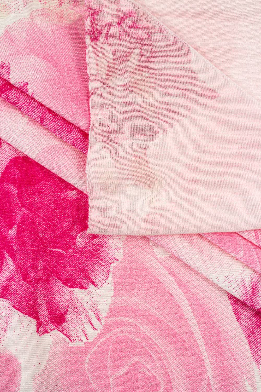 Dzianina jersey wiskozowy - różowy w fuksjowe kwiaty  - 150cm 150g/m2