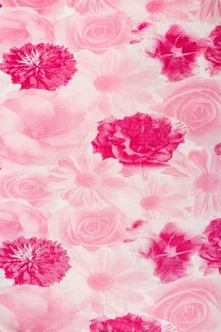 Dzianina jersey wiskozowy - różowy w fuksjowe kwiaty  - 150cm 150g/m2 thumbnail