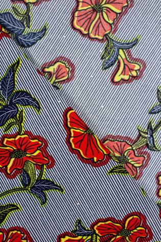 Tkanina woskowana - czerwone kwiaty na paskach -  110cm 100g/m2 thumbnail