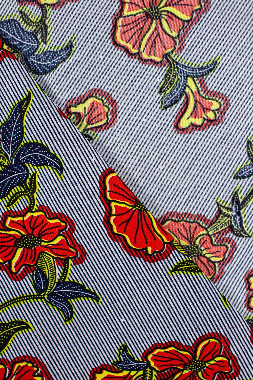 Tkanina woskowana - czerwone kwiaty na paskach -  110cm 100g/m2