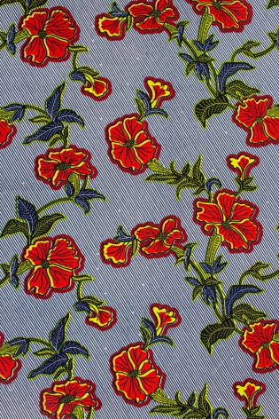 Fabric - Viscose - Flowers On Jeans - 140 cm - 130 g/m2 thumbnail