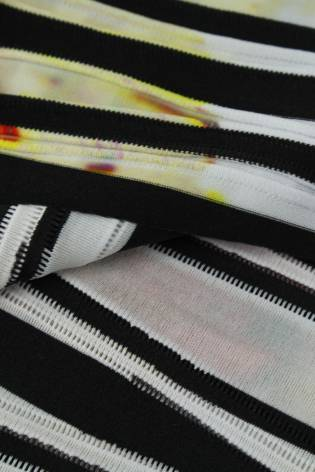 Knit - Polyester - Black Stripes With Colourful Spots  - 2 rm (Pre-cut) thumbnail
