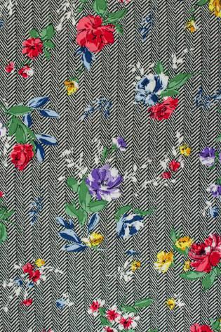 Fabric - Viscose - Herringbone With Flowers - 140 cm - 130 g/m2 thumbnail