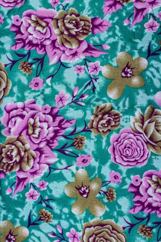 Fabric - Viscose - Turquoise With Pink Flowers - 140 cm - 130 g/m2 thumbnail