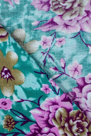 Tkanina wiskozowa - turkusowa w kwiaty -  140cm 130g/m2 thumbnail