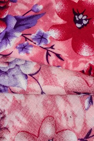 Tkanina wiskozowa - różowa w fioletowe kwiaty -  140cm 130g/m2 thumbnail