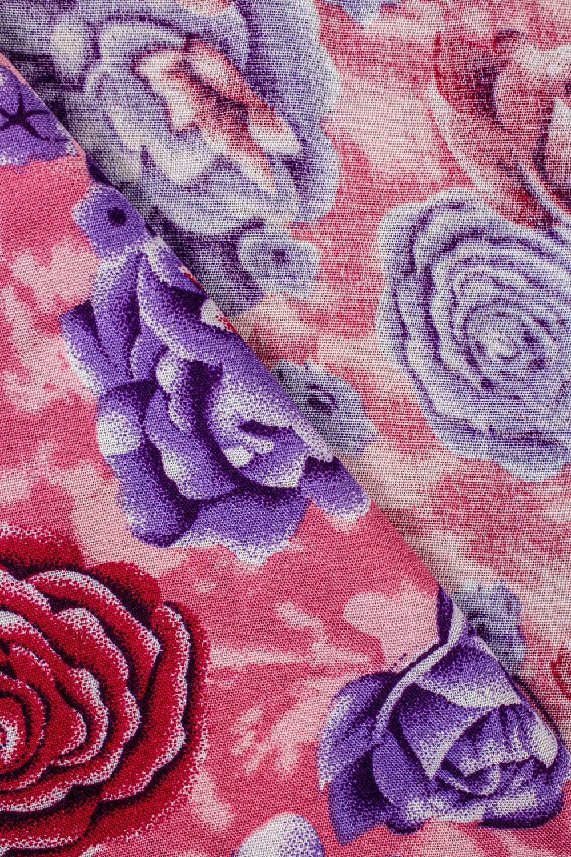 Tkanina wiskozowa - różowa w fioletowe kwiaty -  140cm 130g/m2
