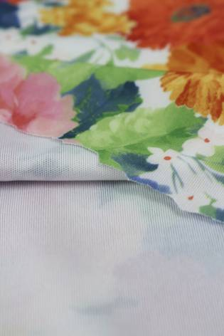 Knit - Jersey - White With Colourful Flowers - 2 rm (Pre-cut) thumbnail
