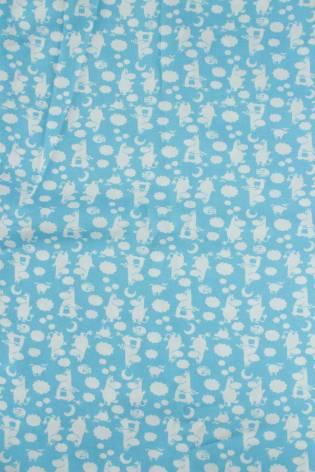 Tkanina wiskozowa turkusowa w muminki KUPON 2 MB thumbnail