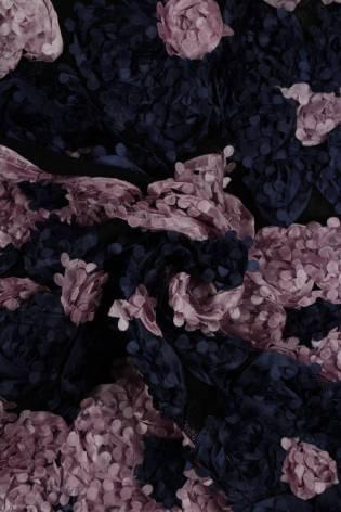 Fabric - Lace - 3D Flowers - Navy Blue & Pink Flowers - 2 rm (Pre-cut) thumbnail